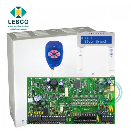 کنترل پنل 16 زون با سیم با قابلیت 2 برابر شدن + کی پد K32LX + جعبه فلزی + REM1